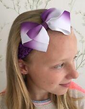 Girls Purple Crochet Headband With Medium Bow