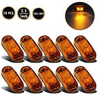 10 X AMBER ORANGE 12V 2 LED SIDE MARKER INDICATORS LIGHTS TRUCK TRAILER E-MARKED