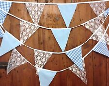Fabric bunting lace Blue Gingham Small Dots baby shower wedding  10 mt 38 flags