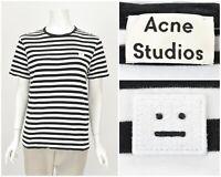 Womens Acne Studios 2016 Eddy Stripes Logo T-Shirt White Black Crew Neck Size S