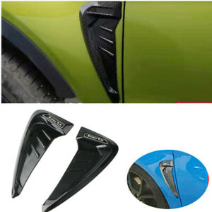 2x Black Side Wing Air Side Vent Trim Intake Fender Cover Flow Grille Sticker