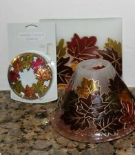 Yankee Candle Maple Leaves Jar Candle Shade/Tray/Votive Holder & Topper~Fall