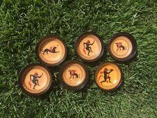 Greece Handmade Hand Painted Original Terracotta Bowl Set Six Lot