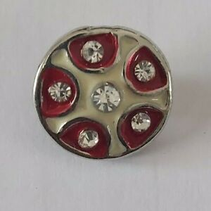 12mm mini petite snap charm for GingerSnap jewelry-Red & White design
