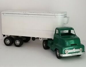 VTG Dunwell Toys GREEN CAB TRACTOR TRAILER Semi Truck PRESSED STEEL Clean Solid