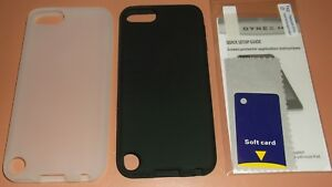 Lot of 2 Silicone Skins for Apple iPod touch 5th Gen, 1 Black, 1 White + scr prt