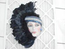 USA Made Lady Face Mask Hanging Wall Decor Feathers large blue fancy