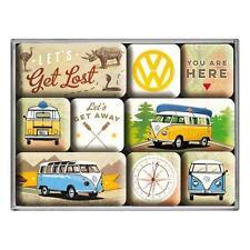 9 Piece VW Splitty Bulli Lets Get Lost Classic Camper Van Fridge Magnet Gift Set