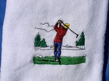 Man teeing off - golf towel -Personalized /Embroidered