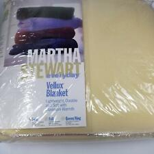 "Martha Stewart Vellux Blanket Twin Bed Solid Color New Ivory Beige 66"" x 90"""