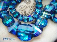 RARE VINTAGE SWAROVSKI PAGODA POTATO CHIP BLUE AURORA BOREALIS CRYSTAL NECKLACE