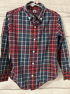 Janie And Jack Boys Size 5 Red Blue Plaid Cotton Button Down Shirt