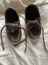 Janie And Jack Baby Boy Boat Shoes Top-Siders Brown Leather Size 5