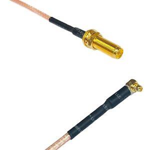 RG316 RP-SMA Female Long to MMCX MALE ANGLE Coax RF Cable USA-Ship
