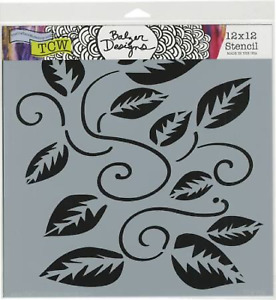 12x12 Vine w/ Leaves Design Crafters Workshop Mixed Media Art Layering Stencil