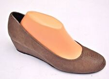LN Stuart Weitzman Laidback Taupe Brown Textured leather Wedge Heels Shoes Sz 10