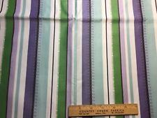 Vintage Cotton Sateen Fabric 40s50s CUTE Purple White & Green Stripe 35w 1yd