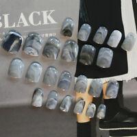 24 pcs Grey Marble fingernail tips Short False Nails Acrylic Full Cover Nail Art