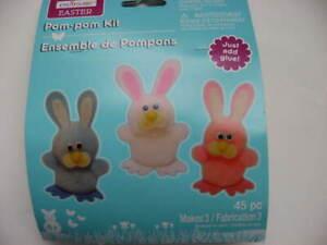 NOS Easter Pom-pom Kit MAKES 3 Bunnies Creatology Kit TAIWAN Just add GLUE