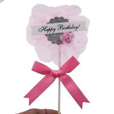 Children Happy Birthday Flower Icing Cake Wood + Lace Topper Baking Decor T