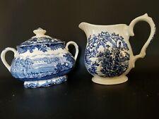 Myott The Hunter Royal BlueFine Staffordshire Ware Sugar Bowl w lid Creamer Set