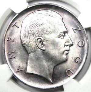 1926-R Albania Zog I 5 Franga Ari Coin 5F - Certified NGC MS64 (BU UNC)