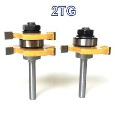 "2 pc 1/4"" Shank Tongue and Groove Assembly Router Bit Set S"