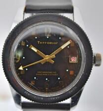 Vintage Terramer World Time Stainless Steel 36mm Swiss Dive Watch 5 ATM Runs