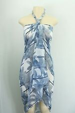 White Blue Palm Tree Sheer Sarong Bikini Coverup Shawl Winter Scarf Dress Wrap