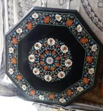 2'x2' black marble table top coffee dining inlay lapis malachite room decor