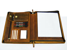 Vintage Leather Portfolio Executive A4 Organizer Folder Zippered Padfolio