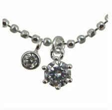 MACKRI S925 Fine Silver Diamond and Round Pattern Silver Bead/Ball Chain