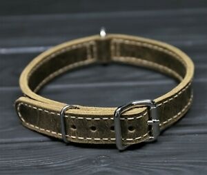 real Leather dog collar, Handmade 1 Inch wide Soft distressed comfortable collar