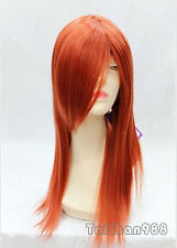 New Fashion Long Orange Red Straight Cosplay Women's Lady's Hair Wig Wigs +Cap