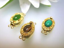Antique estate nature 3 gemstone cabochon 18k gold plated clasp for double strnd
