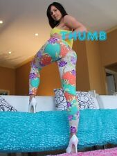 Kendra Lust - 8x6 inch Photograph #051 in Tight Multi Coloured Leggings & Heels