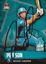 ✺Signed✺ 2015 2016 BRISBANE HEAT Cricket Card JIMMY PEIRSON Big Bash League
