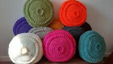 Hand crocheted circular cushions complete with inner pad - FREE P&P