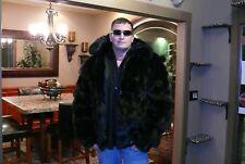 RARE   Mens 2XL 3XL Winter Authentic DYED BLACK FOX FUR COAT Jacket SO SO SOFT