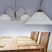 Lampe à suspension moderne Plafonnier Lustre Lampe pendante Verre albâtre 129377