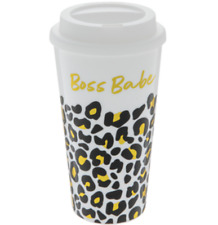 New Travel coffee Cup With Lid Leopard Boss Babe Hot / Cold - Black / Gol