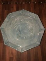 Vintage Large Hexagon Pottery Tray. Mid Century Modern Decor. Stamped