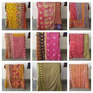 Handmade Bohemian Bedding Indian Reversible Throw Blanket Vintage Kantha Quilt