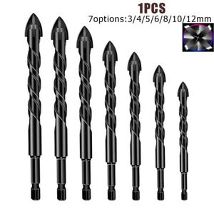 Triangle Drill Bit Wood Ceramic Cross Drill Four-Blade Glass Groove Durable