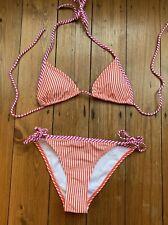 Candy Stripe Orange Bikini Marks And Spencer Side Tie Size 8