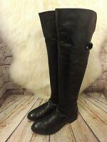 Womens Dune Black Leather Zip Fastening Low Heel Over The Knee Boots UK 3 EUR 36