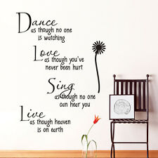 New Dance Live Love Sing Words Quote Wall sticker Wallpaper wall decals mural