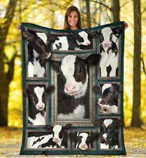 BLANKET - FARM -  Love my Farm Cow Black and White Quilt,Fleece blanket