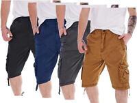 Mens Cargo Combat Shorts 100%Cotton Elasticated Fly Zip Modern Pockets 3/4 Short