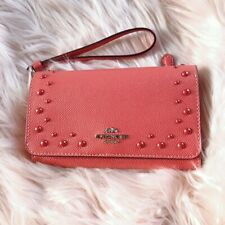 NWT Coach Flap Phone Wallet With Studs Wristlet Coral & Silver F67500